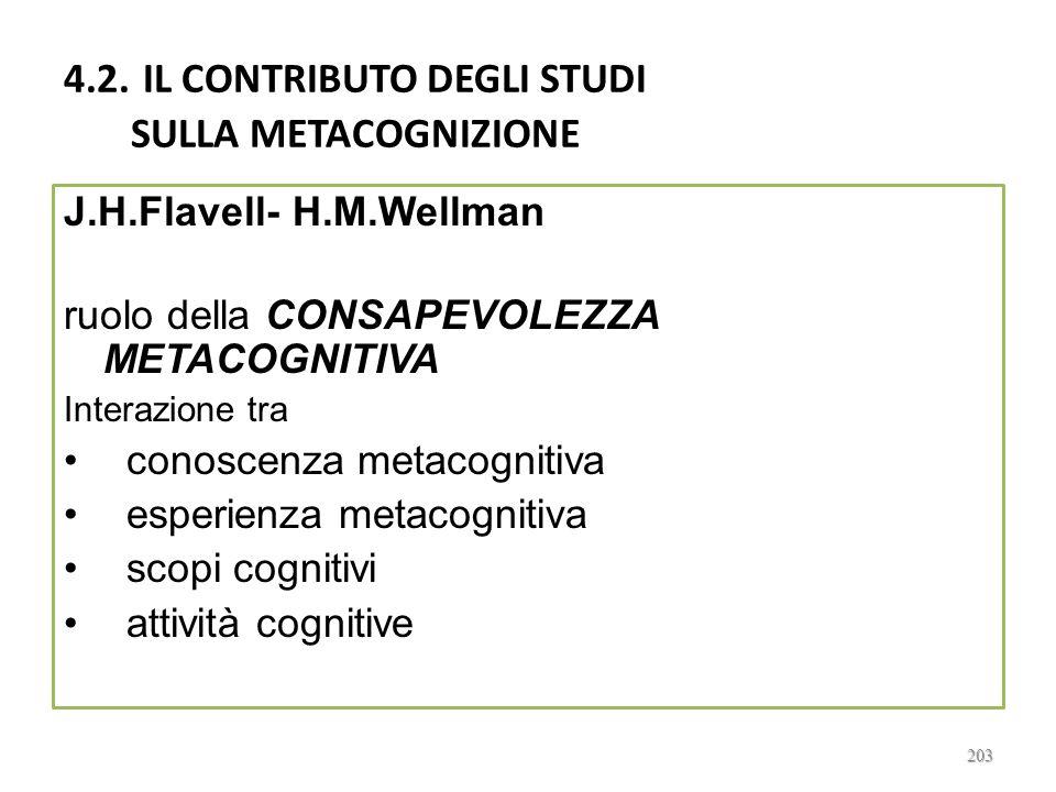 4.2. IL CONTRIBUTO DEGLI STUDI SULLA METACOGNIZIONE
