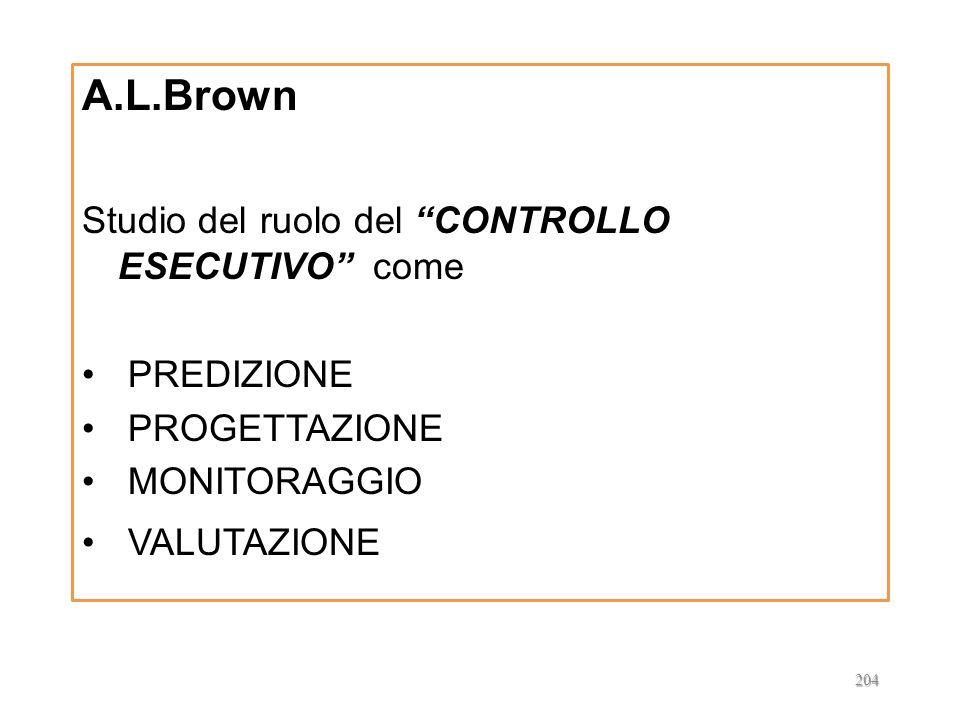 A.L.Brown Studio del ruolo del CONTROLLO ESECUTIVO come PREDIZIONE