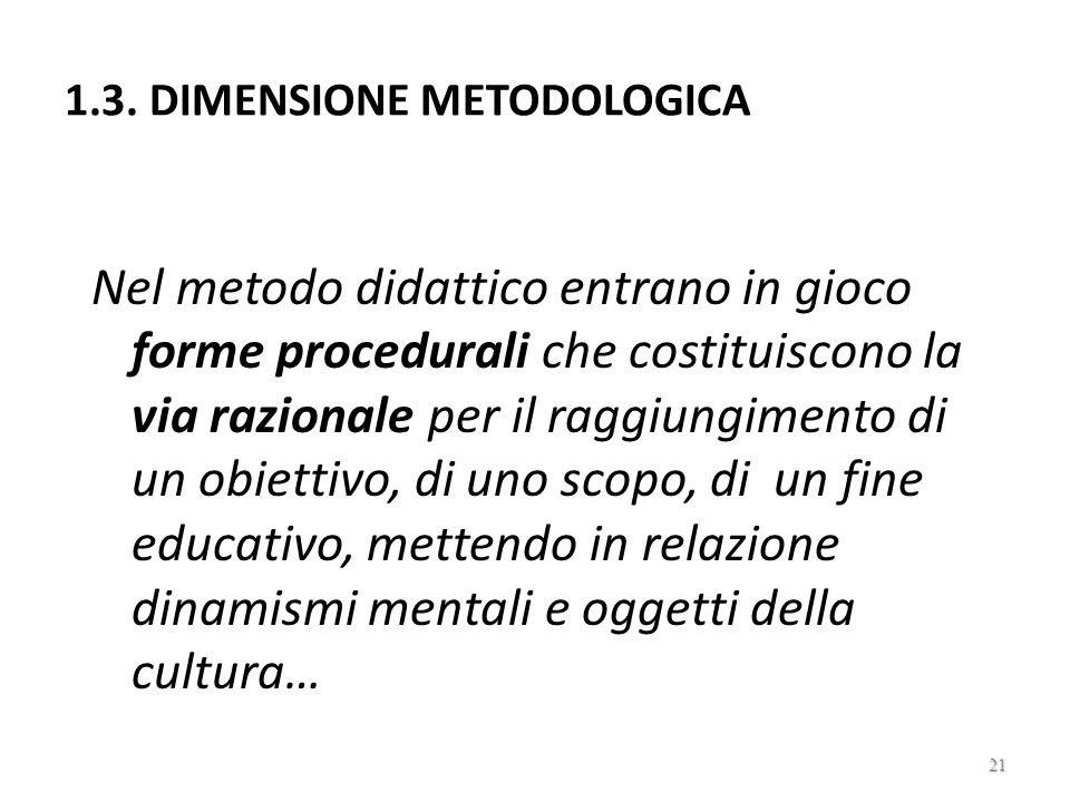 1.3. DIMENSIONE METODOLOGICA