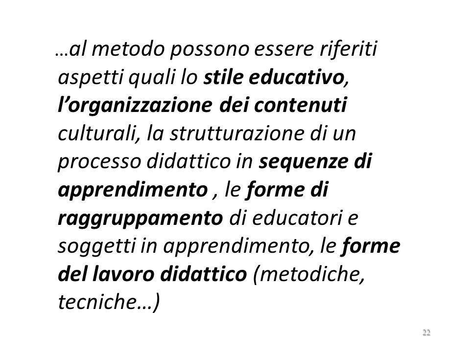 …al metodo possono essere riferiti aspetti quali lo stile educativo, l'organizzazione dei contenuti culturali, la strutturazione di un processo didattico in sequenze di apprendimento , le forme di raggruppamento di educatori e soggetti in apprendimento, le forme del lavoro didattico (metodiche, tecniche…)