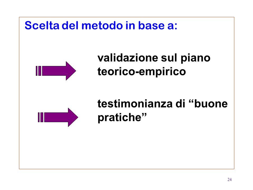 Scelta del metodo in base a: validazione sul piano teorico-empirico testimonianza di buone pratiche