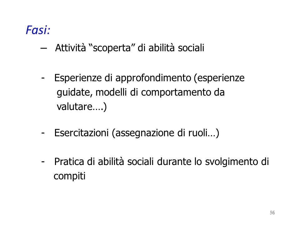 Fasi: Attività scoperta di abilità sociali