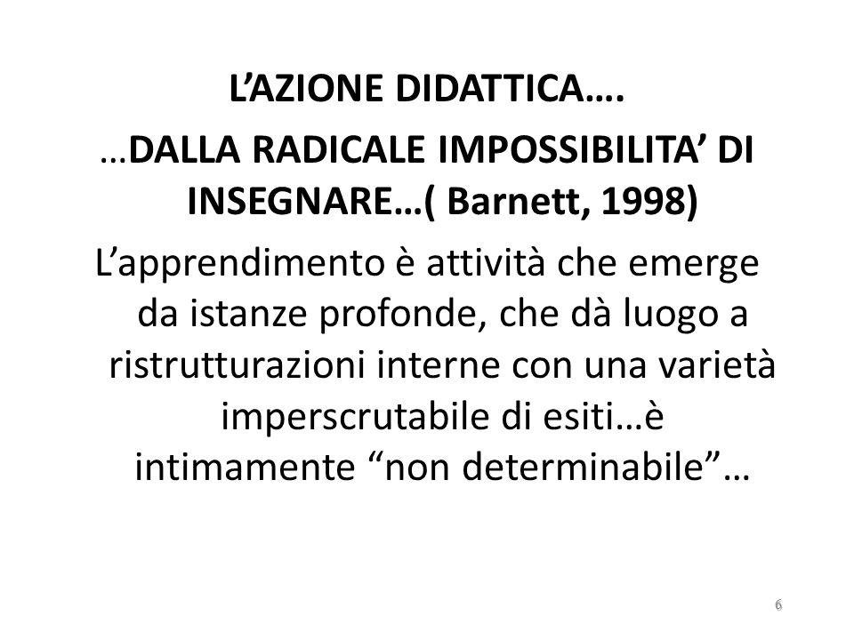 …DALLA RADICALE IMPOSSIBILITA' DI INSEGNARE…( Barnett, 1998)