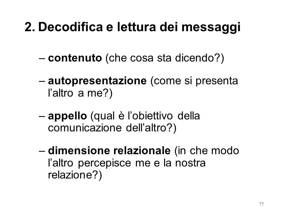 2. Decodifica e lettura dei messaggi