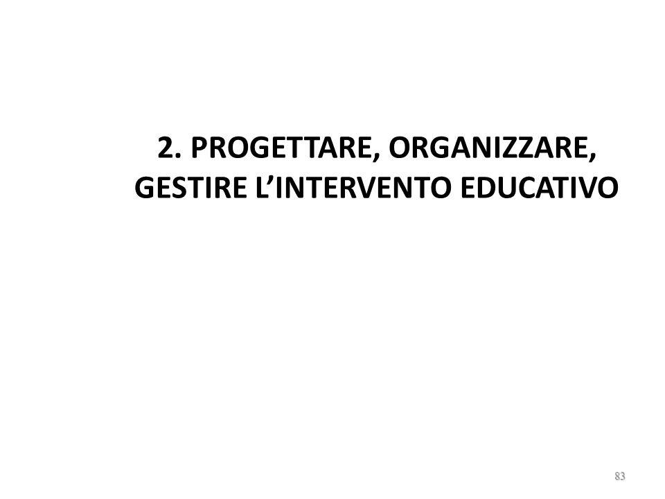 2. PROGETTARE, ORGANIZZARE, GESTIRE L'INTERVENTO EDUCATIVO