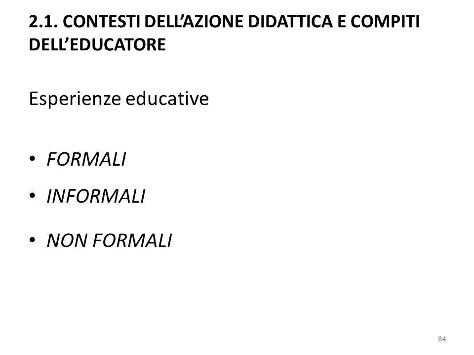2.1. CONTESTI DELL'AZIONE DIDATTICA E COMPITI DELL'EDUCATORE