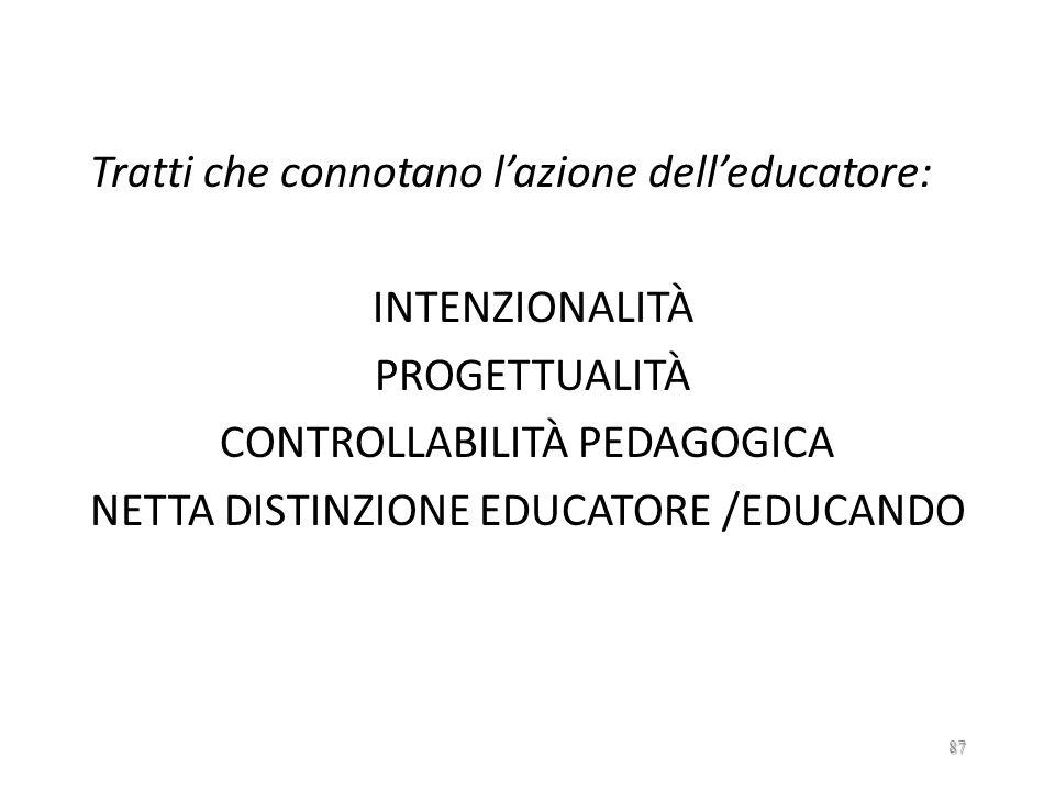 Tratti che connotano l'azione dell'educatore: INTENZIONALITÀ PROGETTUALITÀ CONTROLLABILITÀ PEDAGOGICA NETTA DISTINZIONE EDUCATORE /EDUCANDO