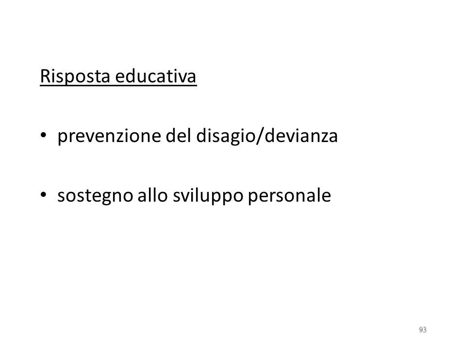 Risposta educativa prevenzione del disagio/devianza sostegno allo sviluppo personale