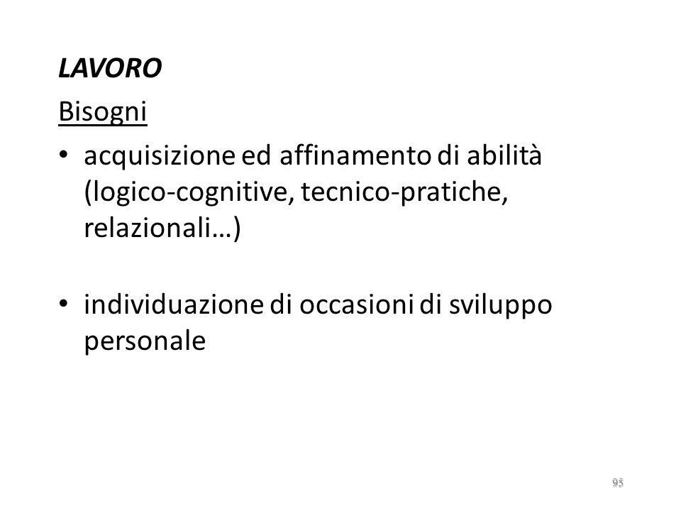 LAVORO Bisogni. acquisizione ed affinamento di abilità (logico-cognitive, tecnico-pratiche, relazionali…)
