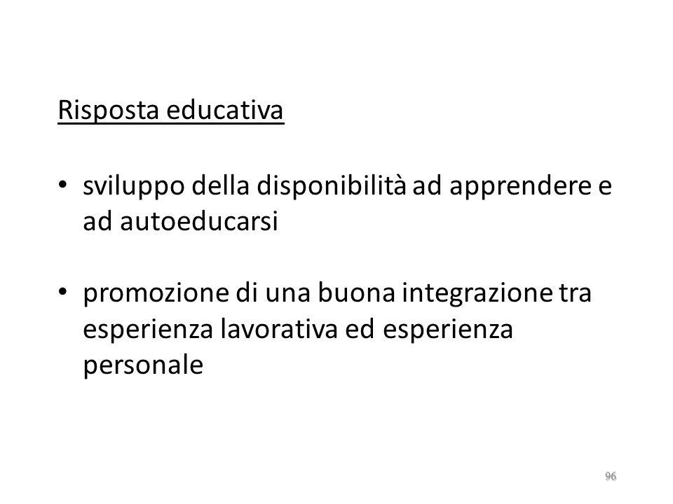 Risposta educativa sviluppo della disponibilità ad apprendere e ad autoeducarsi.