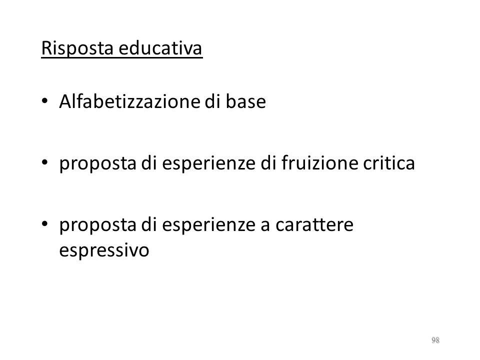 Risposta educativa Alfabetizzazione di base. proposta di esperienze di fruizione critica.