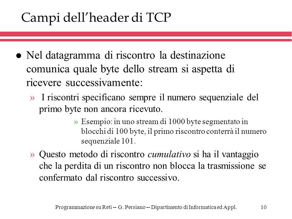 Campi dell'header di TCP