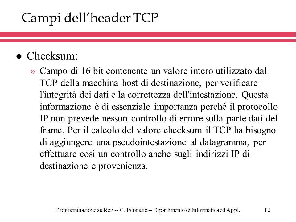 Campi dell'header TCP Checksum: