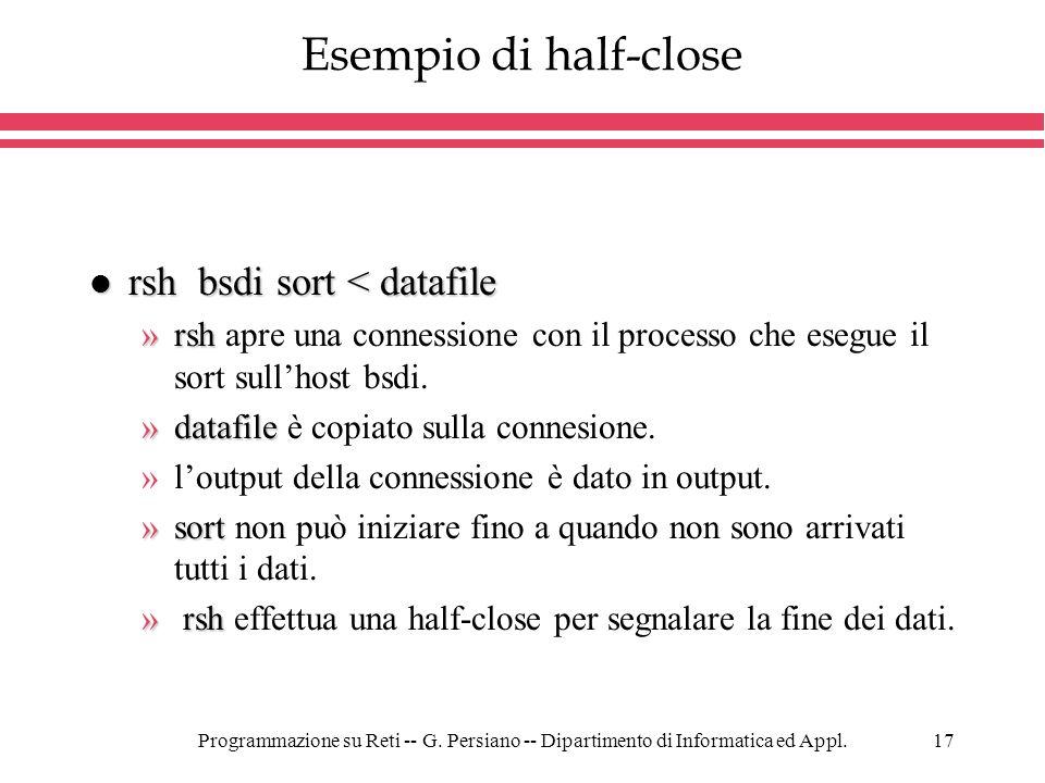 Esempio di half-close rsh bsdi sort < datafile