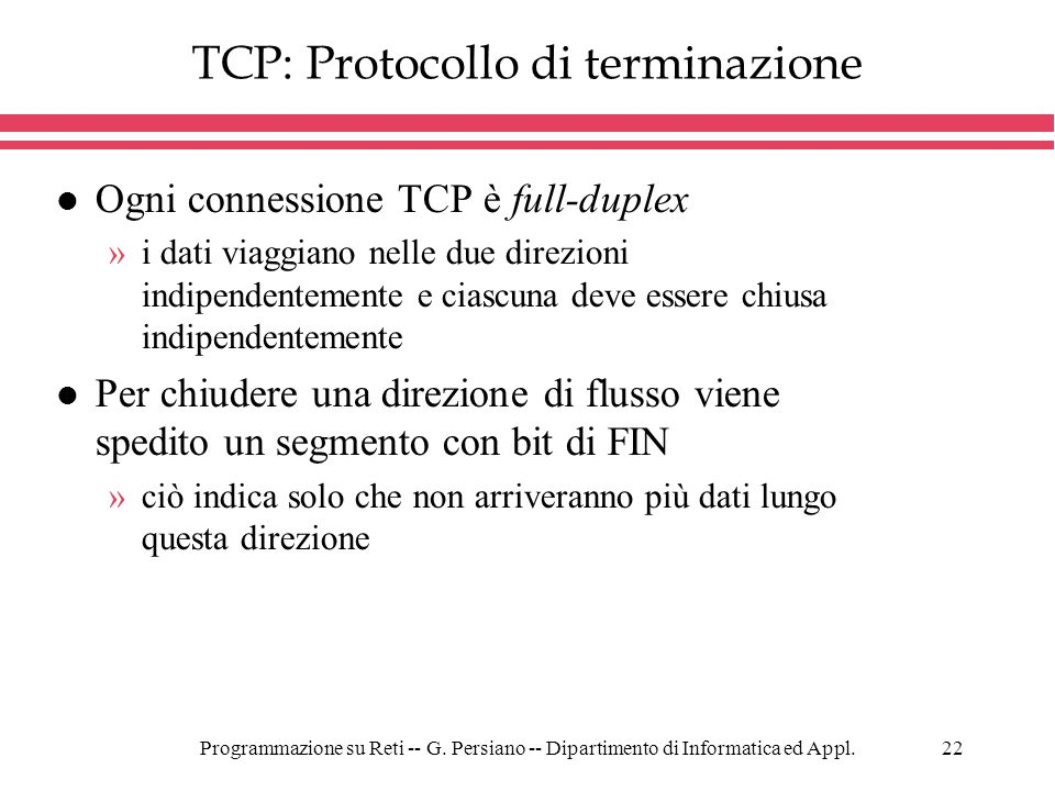 TCP: Protocollo di terminazione