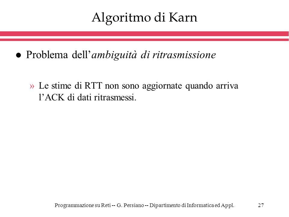 Algoritmo di Karn Problema dell'ambiguità di ritrasmissione
