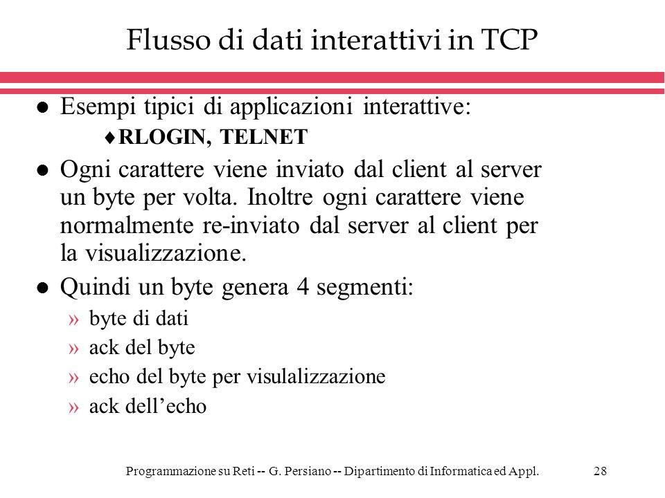 Flusso di dati interattivi in TCP