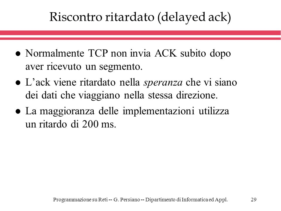 Riscontro ritardato (delayed ack)