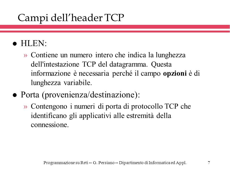 Campi dell'header TCP HLEN: Porta (provenienza/destinazione):