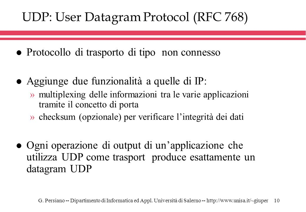 UDP: User Datagram Protocol (RFC 768)