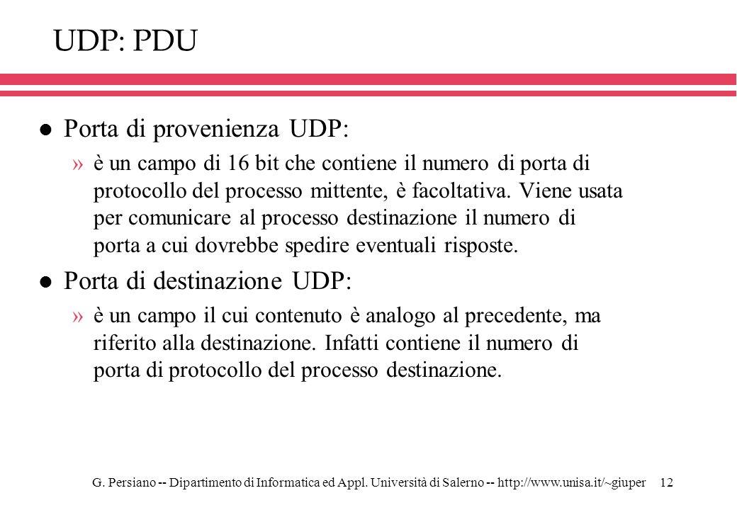 UDP: PDU Porta di provenienza UDP: Porta di destinazione UDP: