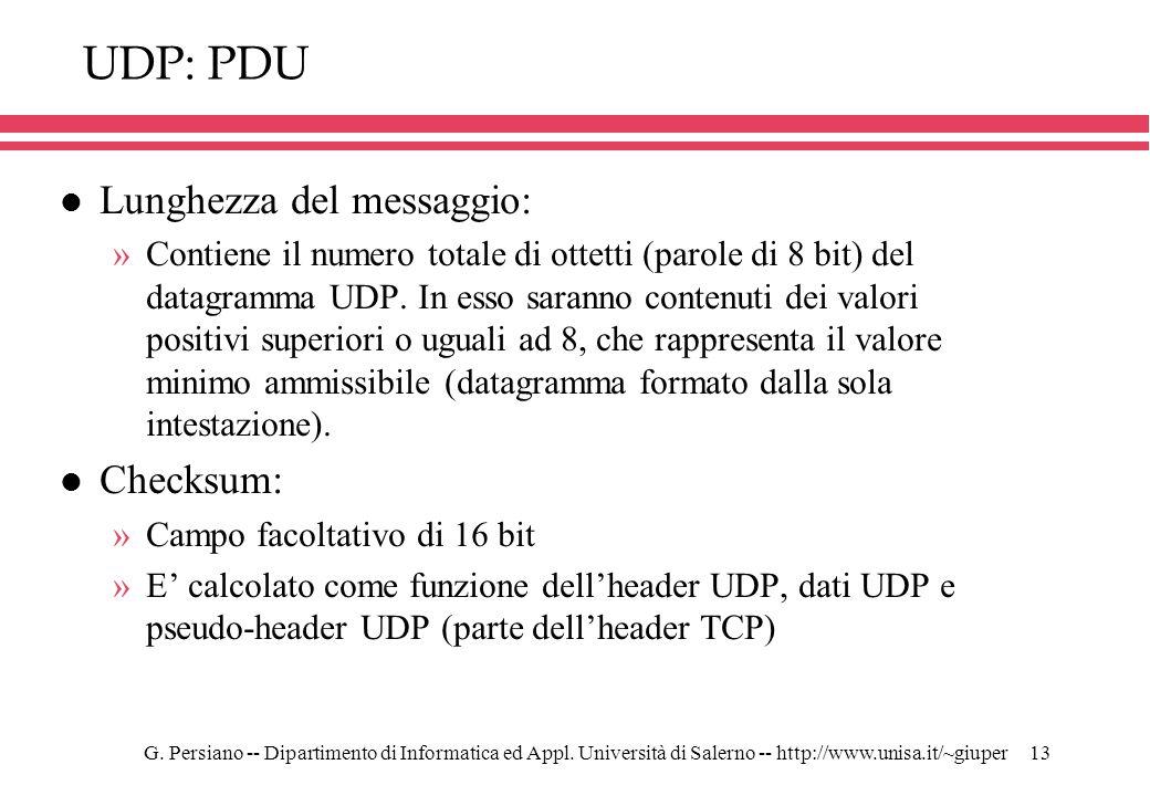 UDP: PDU Lunghezza del messaggio: Checksum: