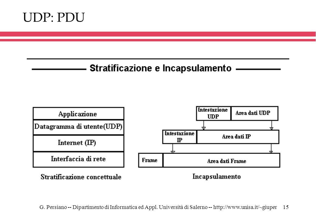 UDP: PDU G. Persiano -- Dipartimento di Informatica ed Appl.