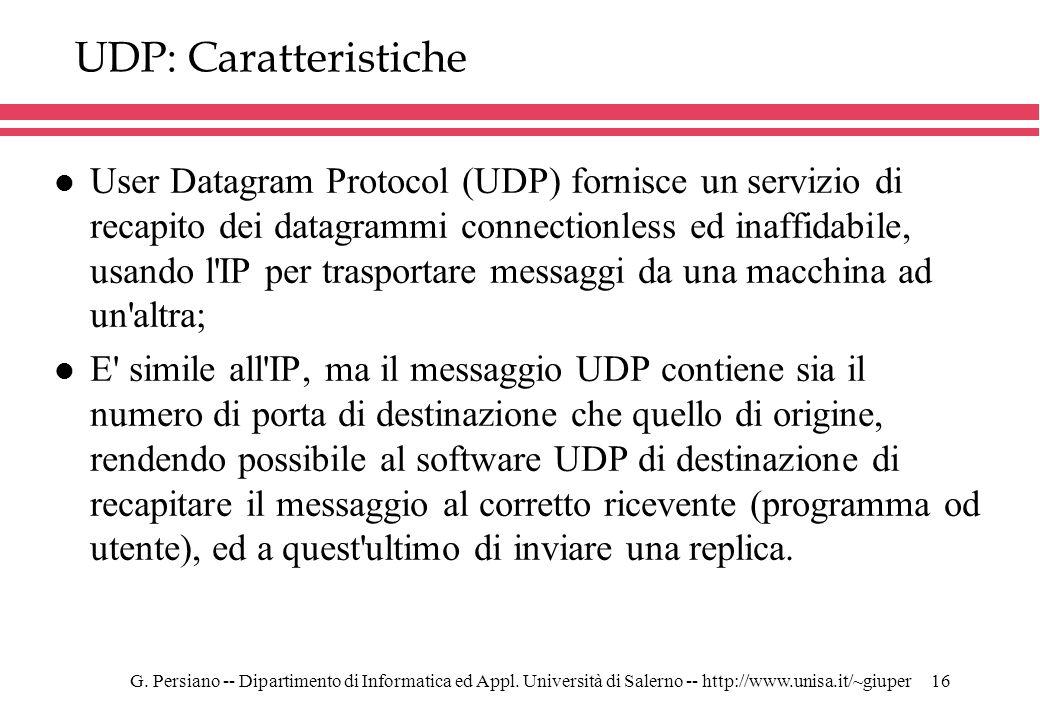 UDP: Caratteristiche