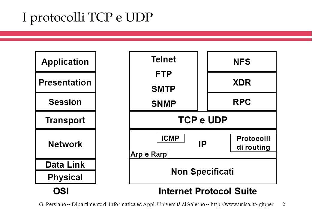 I protocolli TCP e UDP TCP e UDP OSI Internet Protocol Suite