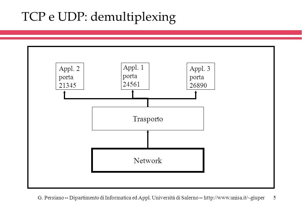TCP e UDP: demultiplexing