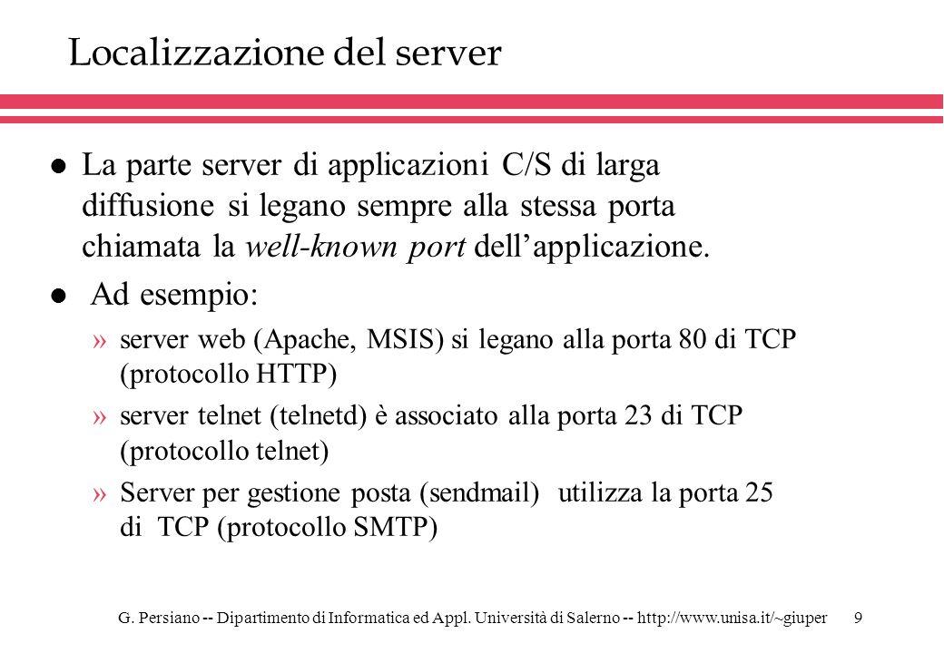 Localizzazione del server