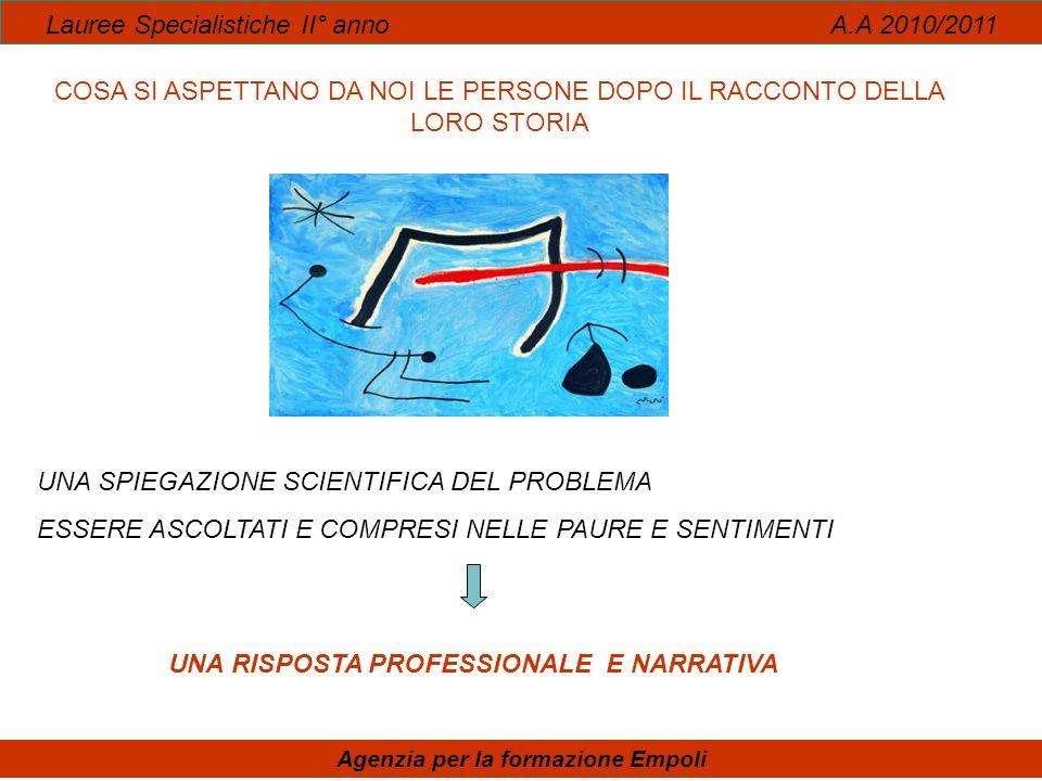 DONNE E CURA Lauree Specialistiche II° anno A.A 2010/2011