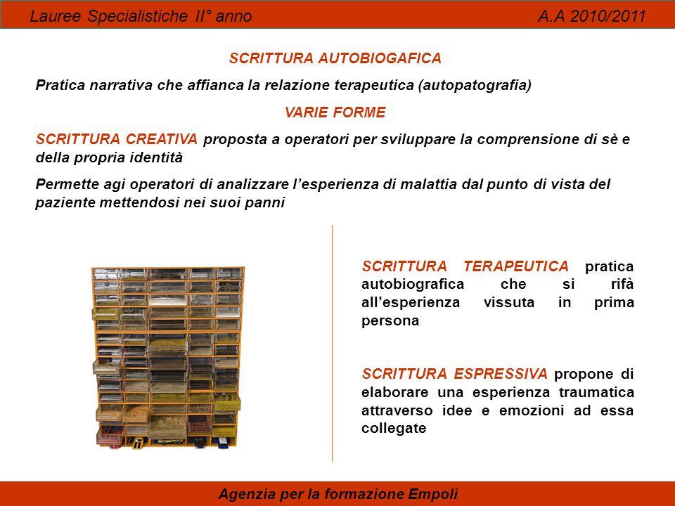 SCRITTURA AUTOBIOGAFICA Agenzia per la formazione Empoli