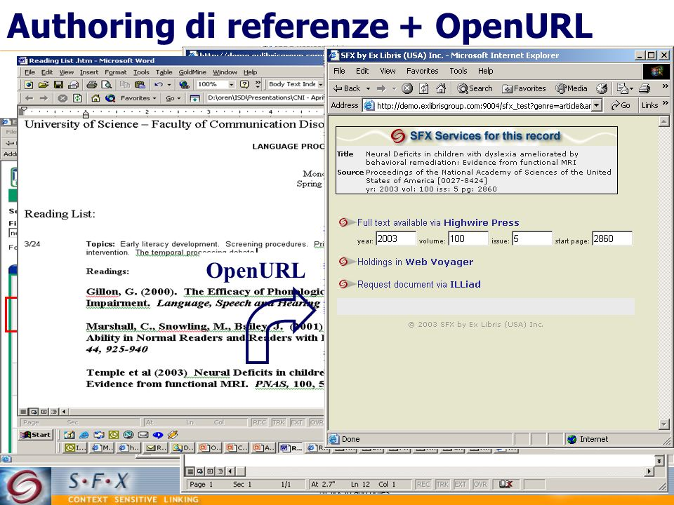 Authoring di referenze + OpenURL