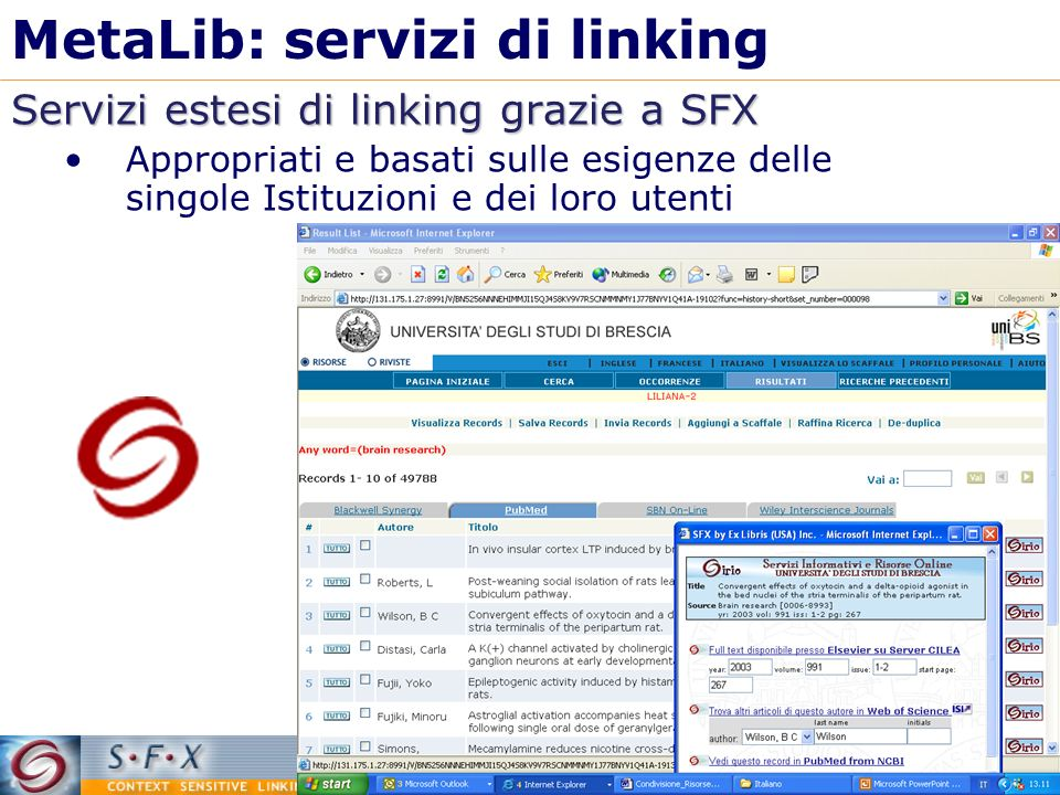 MetaLib: servizi di linking