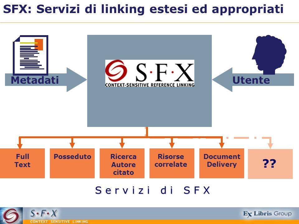 SFX: Servizi di linking estesi ed appropriati