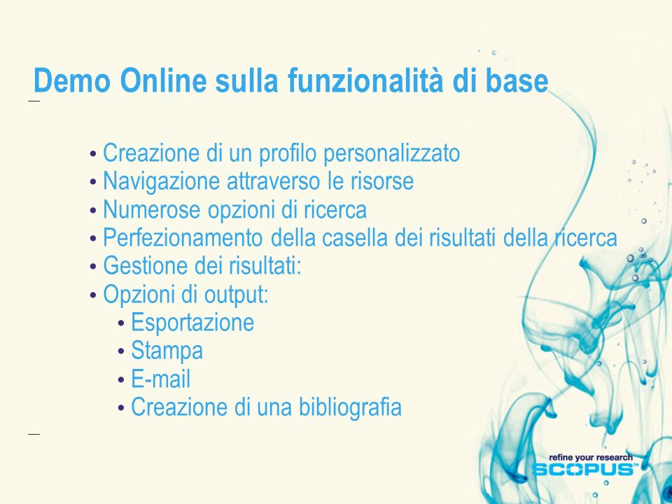 Demo Online sulla funzionalità di base