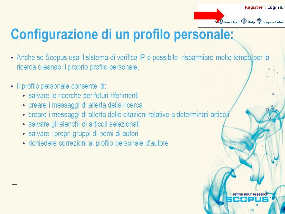 Configurazione di un profilo personale: