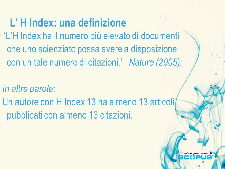 L H Index: una definizione