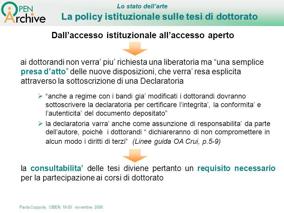 La policy istituzionale sulle tesi di dottorato