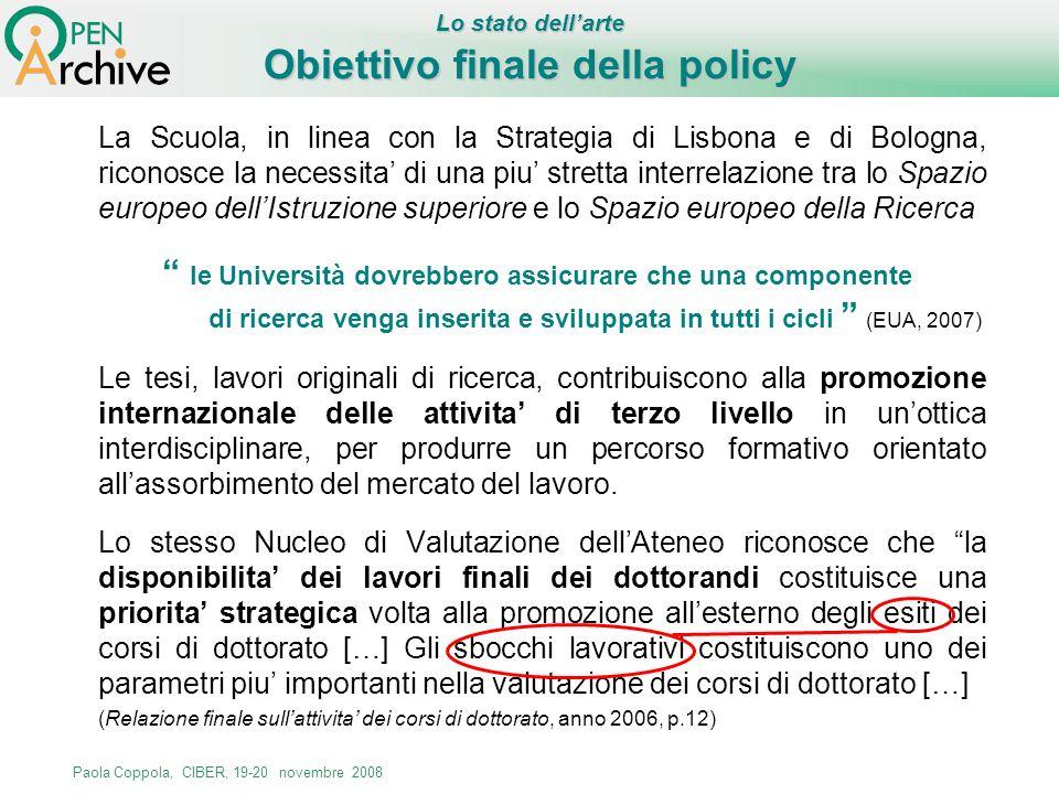 Obiettivo finale della policy