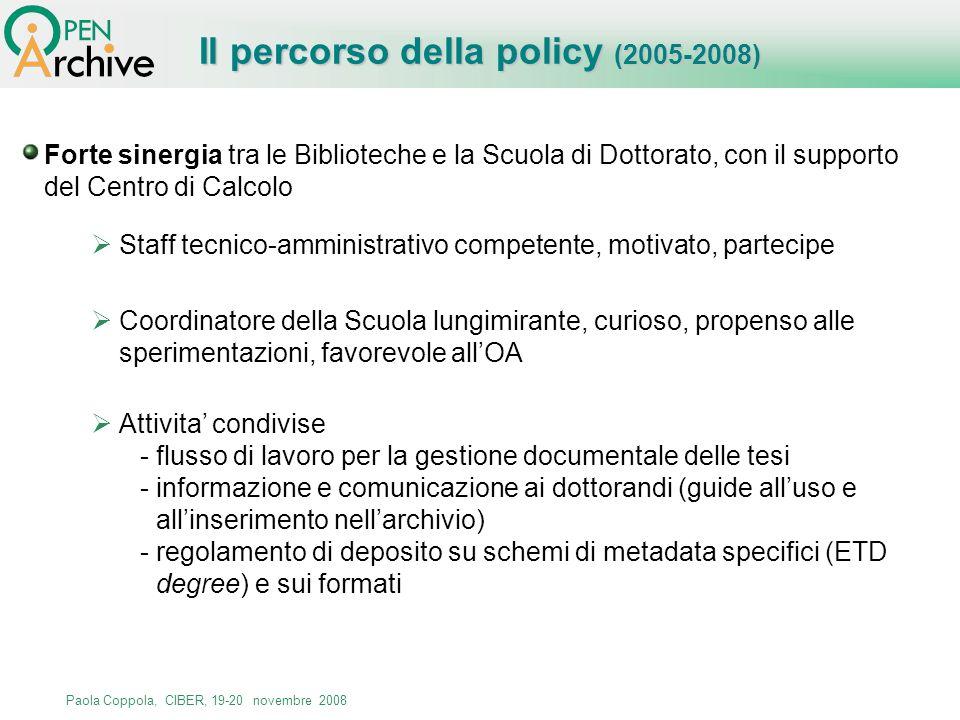 Il percorso della policy (2005-2008)
