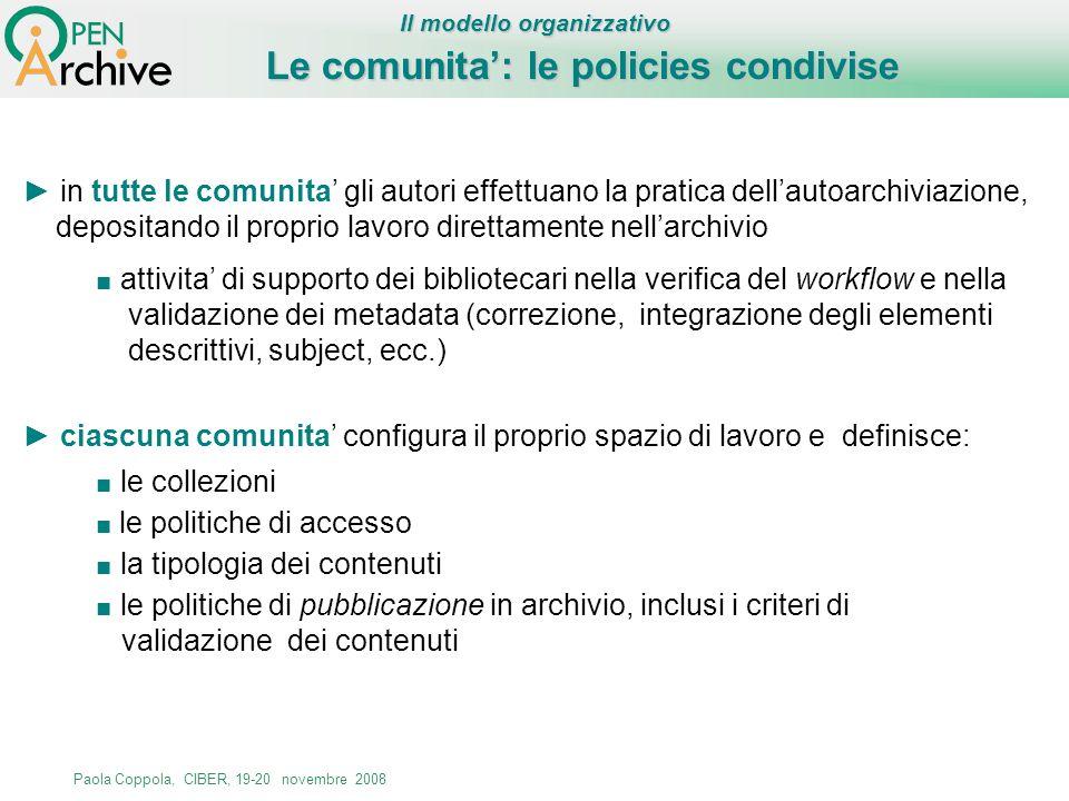 Le comunita': le policies condivise