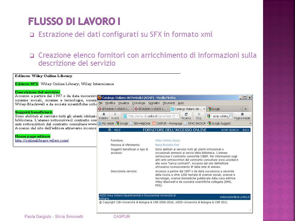 Flusso di lavoro I Estrazione dei dati configurati su SFX in formato xml.