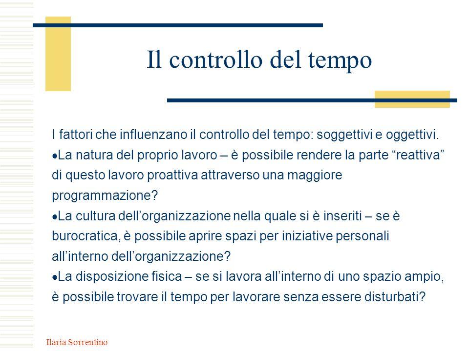 Il controllo del tempo I fattori che influenzano il controllo del tempo: soggettivi e oggettivi.