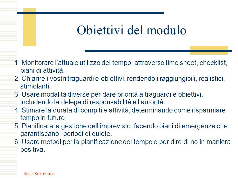 Obiettivi del modulo 1. Monitorare l'attuale utilizzo del tempo; attraverso time sheet, checklist, piani di attività.