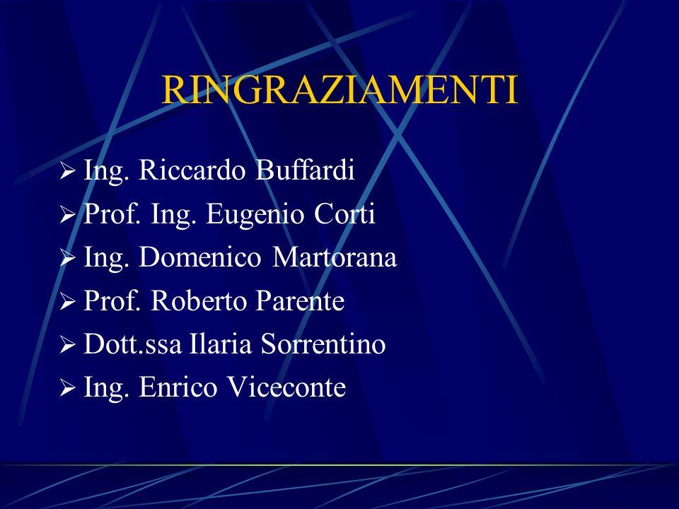 RINGRAZIAMENTI Ing. Riccardo Buffardi Prof. Ing. Eugenio Corti