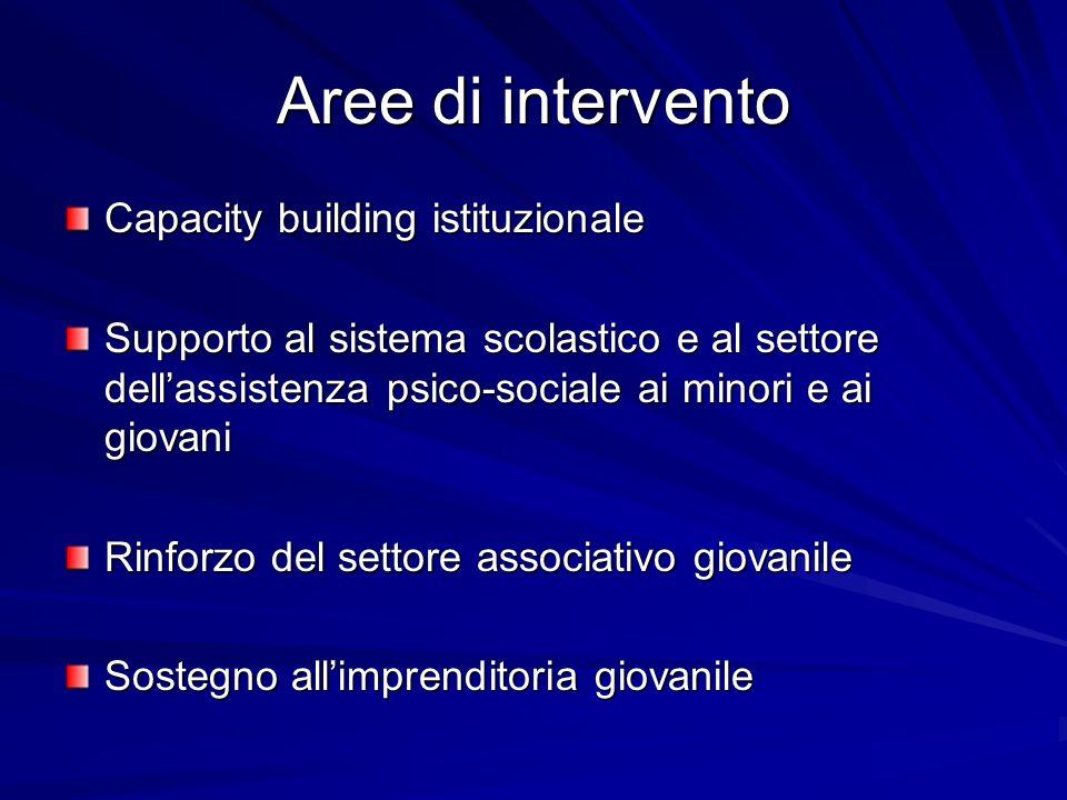 Aree di intervento Capacity building istituzionale