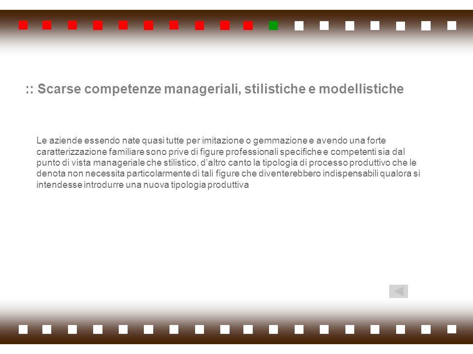 :: Scarse competenze manageriali, stilistiche e modellistiche