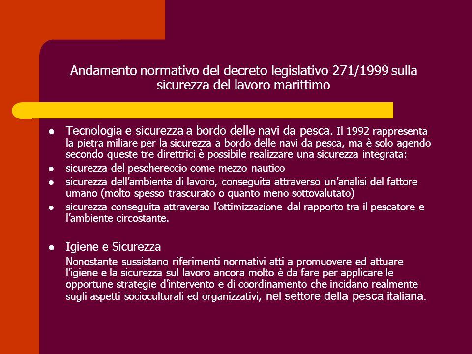 Andamento normativo del decreto legislativo 271/1999 sulla sicurezza del lavoro marittimo